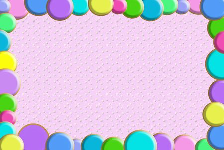 Colorful circle border on textured background.