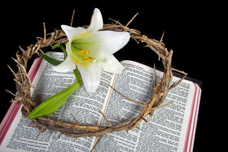 Crown of thorns and Easter lily blossom on Bible. Archivio Fotografico