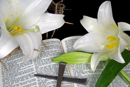 Easter lilies and nails on an open Holy Bible.