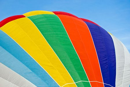 inflated: Colorful inflated hot air balloon. Stock Photo