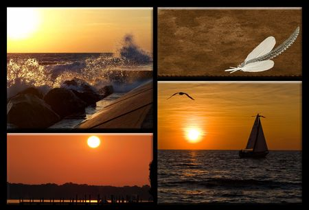Collage of scenic sunsest on Lake Michigan. photo