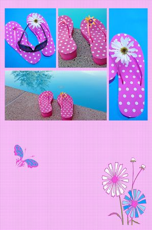 poolside: Flip-flop collage on gingham background. Stock Photo