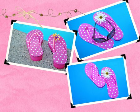 Snapshots of flip-flops by swimming pool.