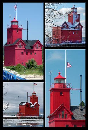 lake michigan lighthouse: Collage de Faro del lago Michigan.