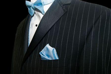 Corbata azul con corbata de esmoquin.  Foto de archivo - 7234005
