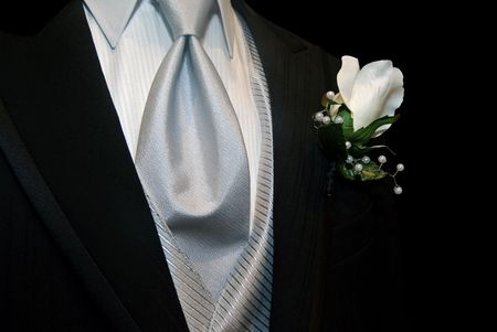 silk tie: Boutonniere in black tuxedo with silver tie.