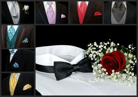 Tuxedo collage with rose on shirt.