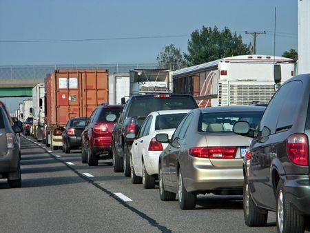 Traffic jam on the highway. photo