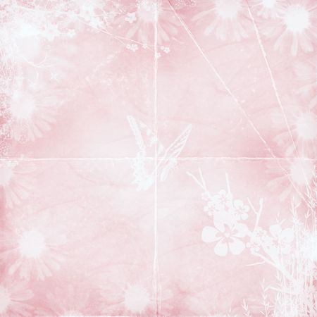 Pastel pink textured background with floral design. Stock Photo