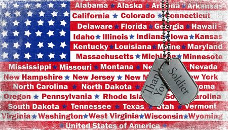 thanks you: Military dog tags with thank you message on flag. Stock Photo