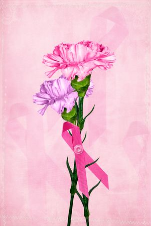 Pink ribbon on carnation bouquet.