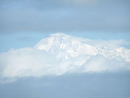 mckinley: Snow capped Mt. McKinley in the clouds.