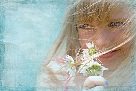breezy: Young girl with daisy bouquet in the wind.