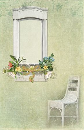 Wicker chair and window with textured effect.