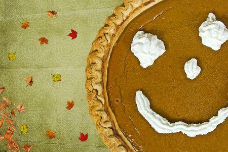 pumpkin pie: Whipped cream face on pumpkin pie.