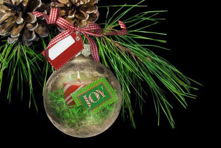 a bough: Fancy ornament hanging from pine bough. Stock Photo