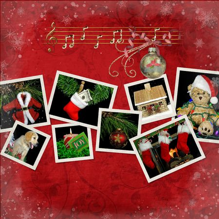 Christmas theme snapshots on textured background.