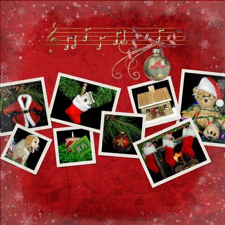 christmas theme: Christmas theme snapshots on textured background.