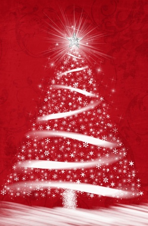 Sparkling white Christmas tree on red background. photo