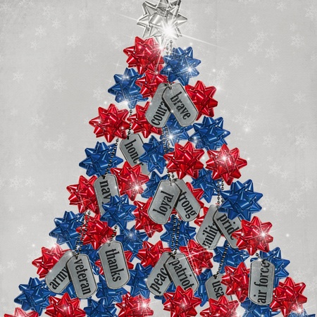 Military dog tag tree with bows.