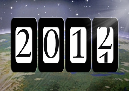 2012 New year on odometer with outer space background. Stockfoto