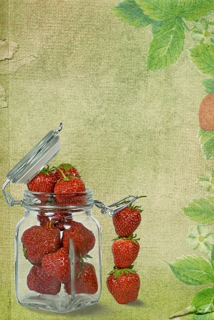 Strawberries on glass jar on textured background.