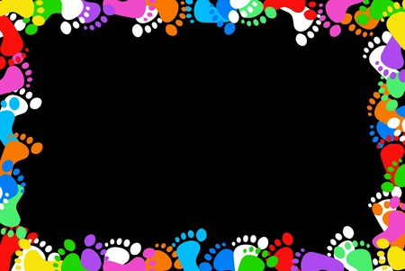 Colorful footprint border on a black background. Stock Photo - 8525782