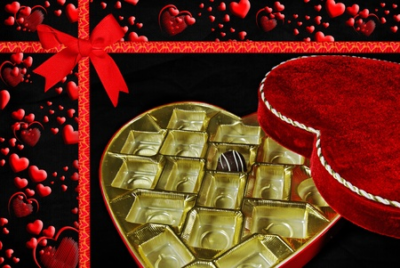 One last chocolate piece in Valentine box. Banco de Imagens