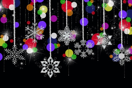 Diamonds with hanging snowflakes and colored dots. Stock Photo - 8598113