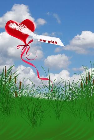 발렌타인 풍선 하늘에 종이 비행기.