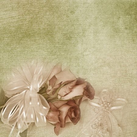 Wedding roses on pillow.