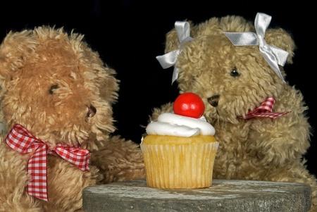 Teddy bears with cupcake. Stock Photo - 8811596