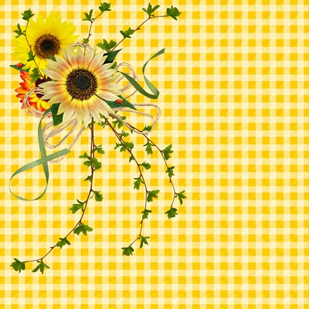Sunflower bouquet with lady bugs on gingham background.