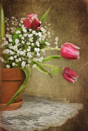 clay pot: Tulip bouquet in clay pot with textured overlay.