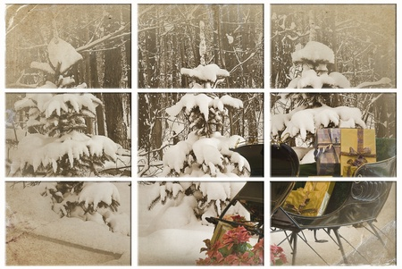 Holiday gifts and antique sleigh in winter woods. photo