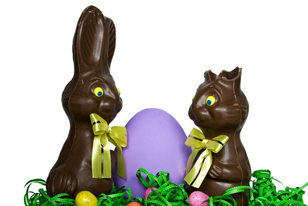 Chocolate Easter bunnies with purple egg.