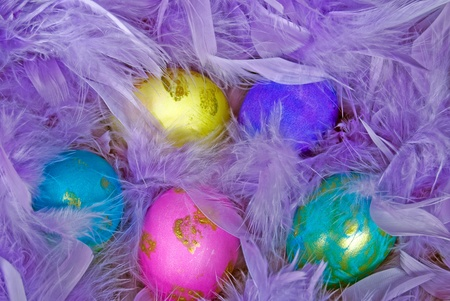 luster: Dyed Easter eggs in purple feather nest. Stock Photo