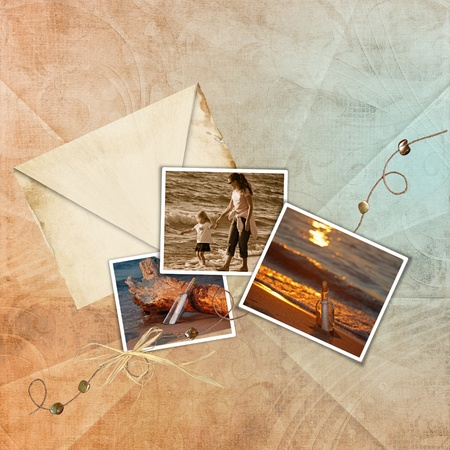Summer snapshots with old envelope. photo
