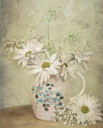 aqua flowers: Floral bouquet in old pitcher with textured overlay.