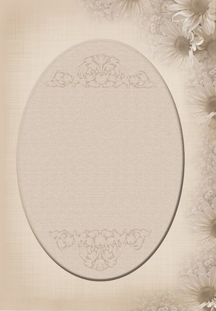 elegant oval frame with soft daisy border in sepia photo