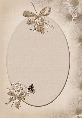 Soft daisy border with oval frame. Фото со стока