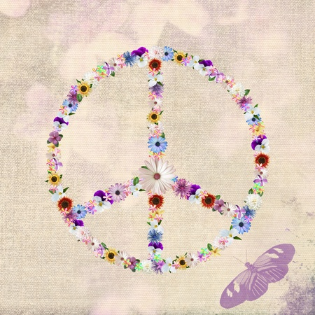 Summer flowers in a peace sign design. photo