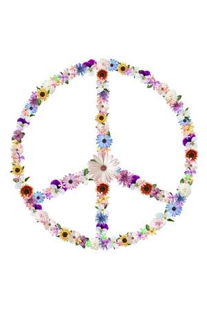 simbolo de la paz: signo de paz de flores de verano en blanco