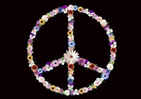 Summer flower peace sign design on black.