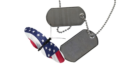 Military dog tags with patriotic butterfly.