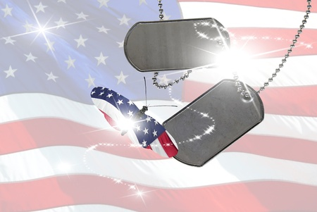 Military dog tags with patriotic butterfly in flight.