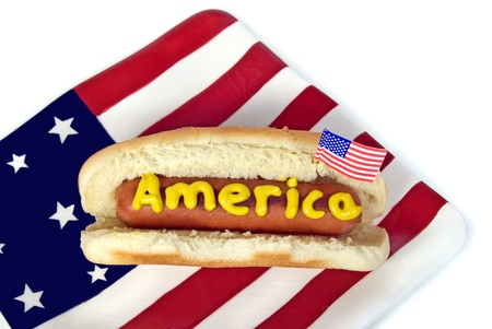 Holiday hot dog on flag plate.