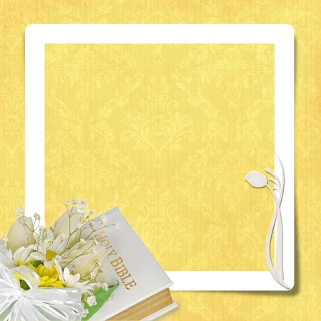 romance: wedding Bible with frame