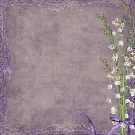 feminine background: Arco p�rpura en el ramo de lirio de los valles.