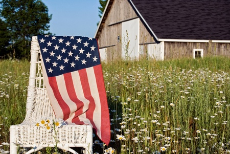 American flag on wicker chair in daisy field.